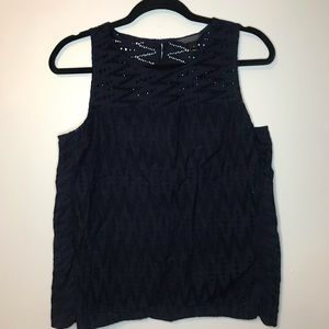J. Crew Seamed shell in zigzag eyelet tank top 8
